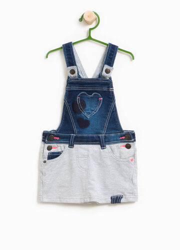 Stretch denim dungarees with heart pocket