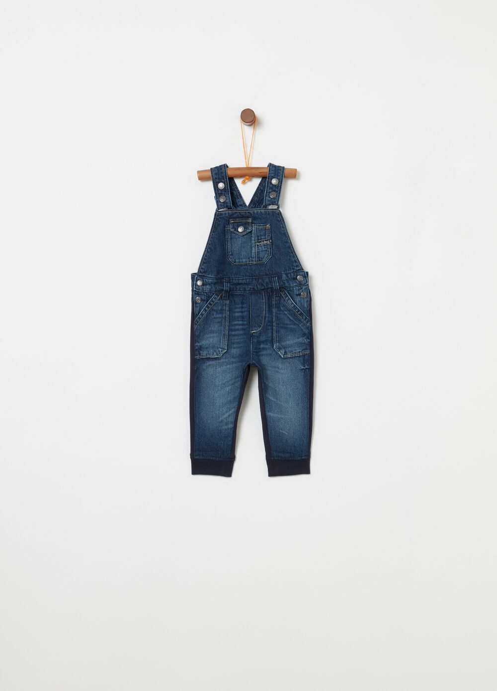 Washed denim dungarees with pockets