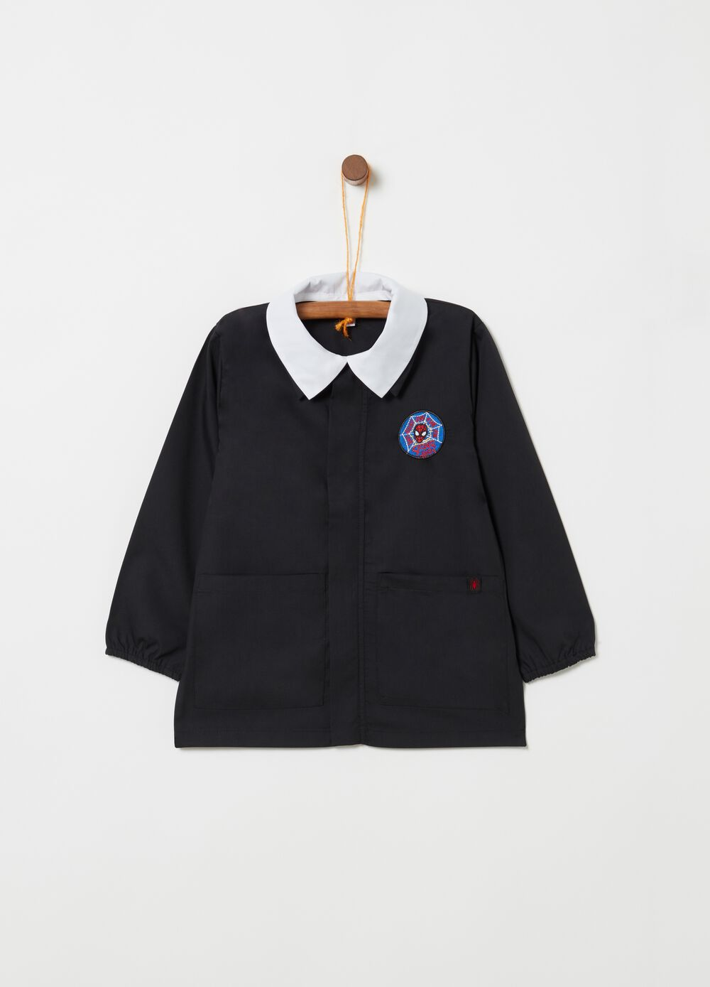 School smock with Spider-Man motif embroidery