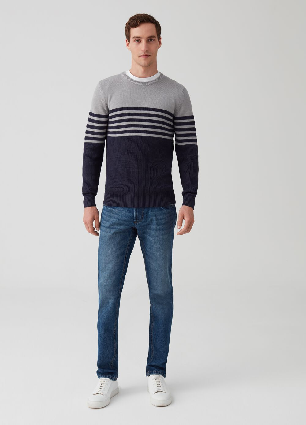 Knitted pullover with stripes and ribbing