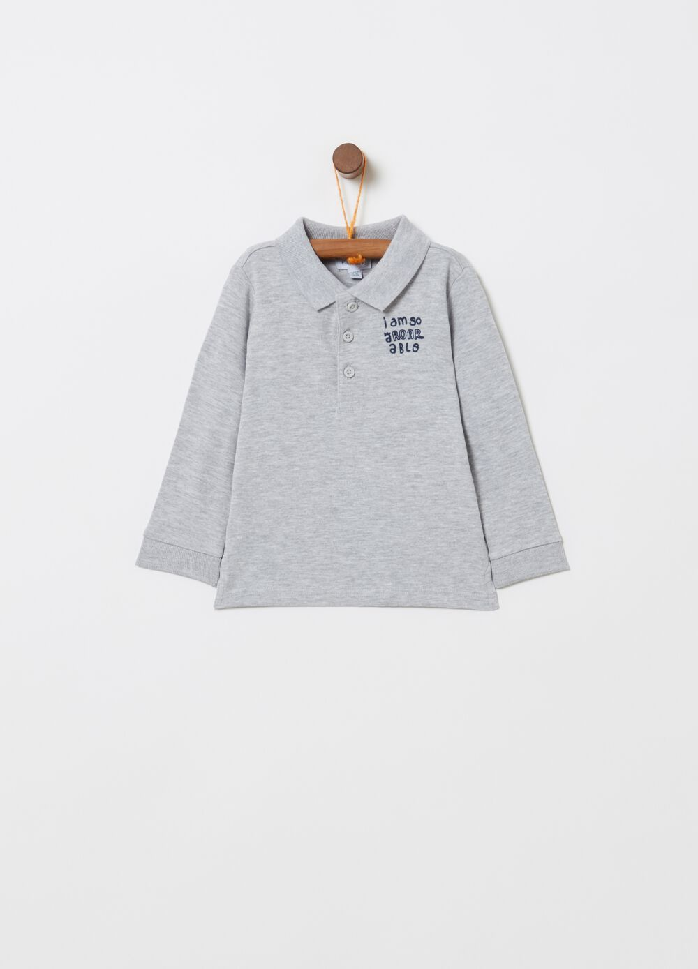 Mélange polo shirt with long sleeves and print