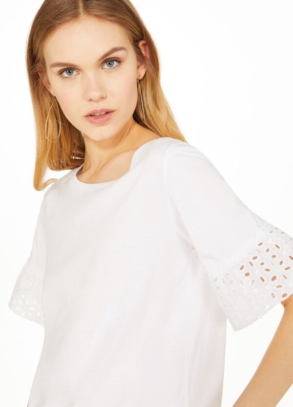 Modal and cotton T-shirt with flounce