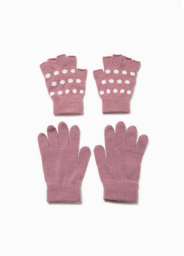 Two-pair pack solid colour and polka dot gloves | OVS