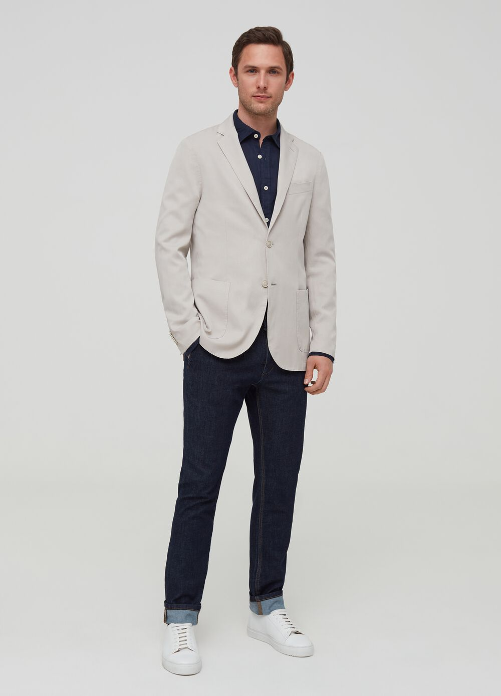 Lyocell and cotton blazer with lapels