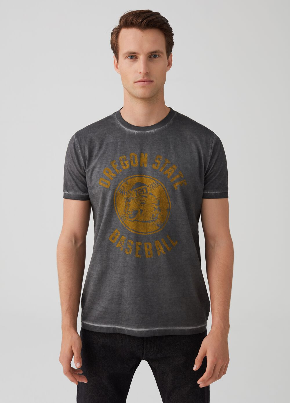 Washed-effect T-shirt with print