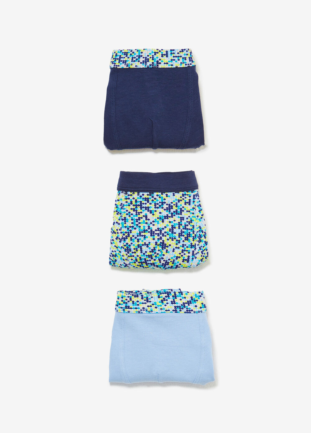 Three-pack patterned boxer shorts in 100% cotton