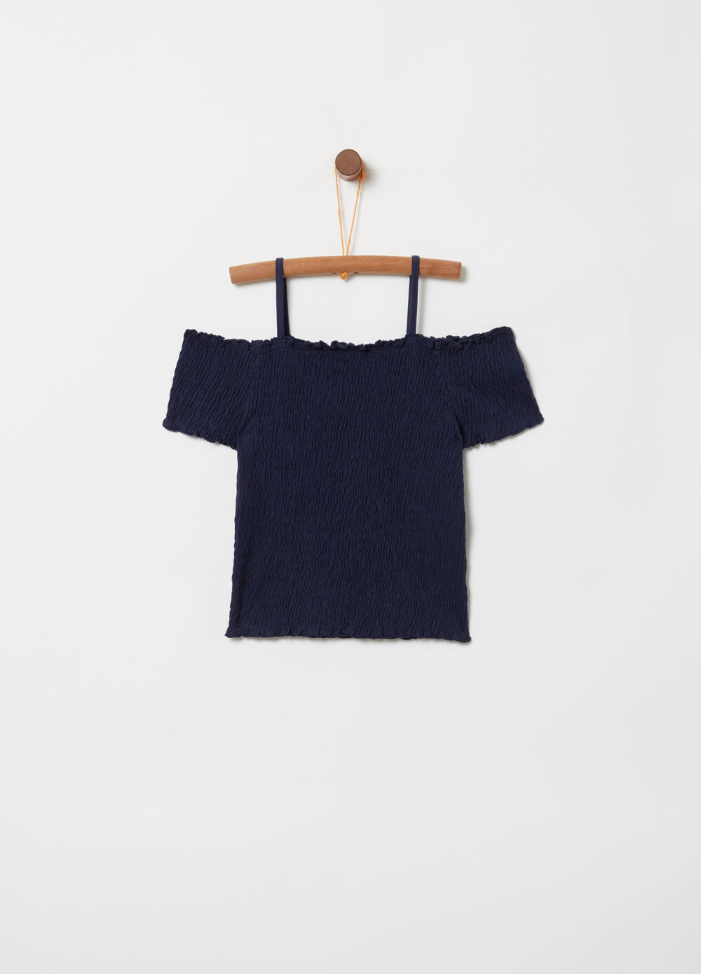 Smock stitch tank top with spaghetti straps