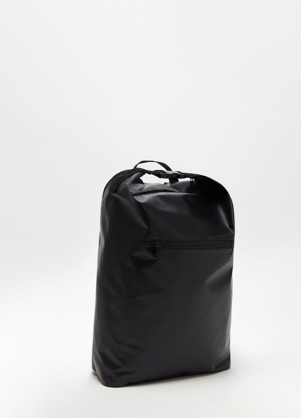 Backpack with solid colour zip and belt