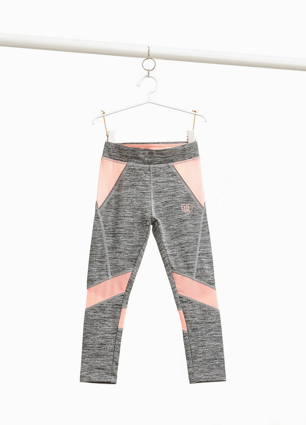 Stretch mélange leggings with inserts