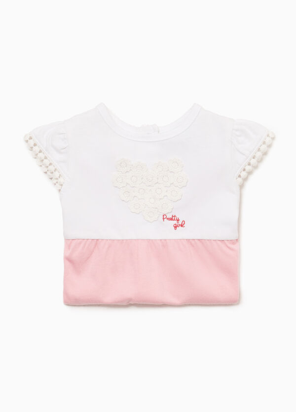 100% cotton romper suit with two-tone embroidery