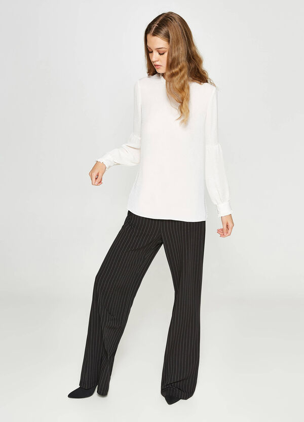 Blouse with long sleeves and flounces | OVS