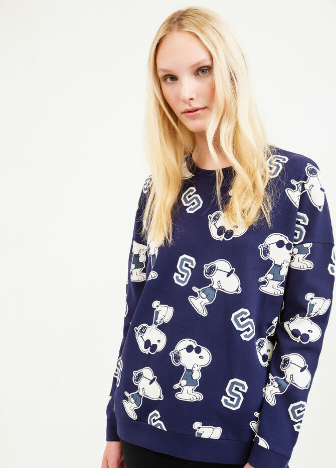 Cotton sweatshirt with Snoopy pattern