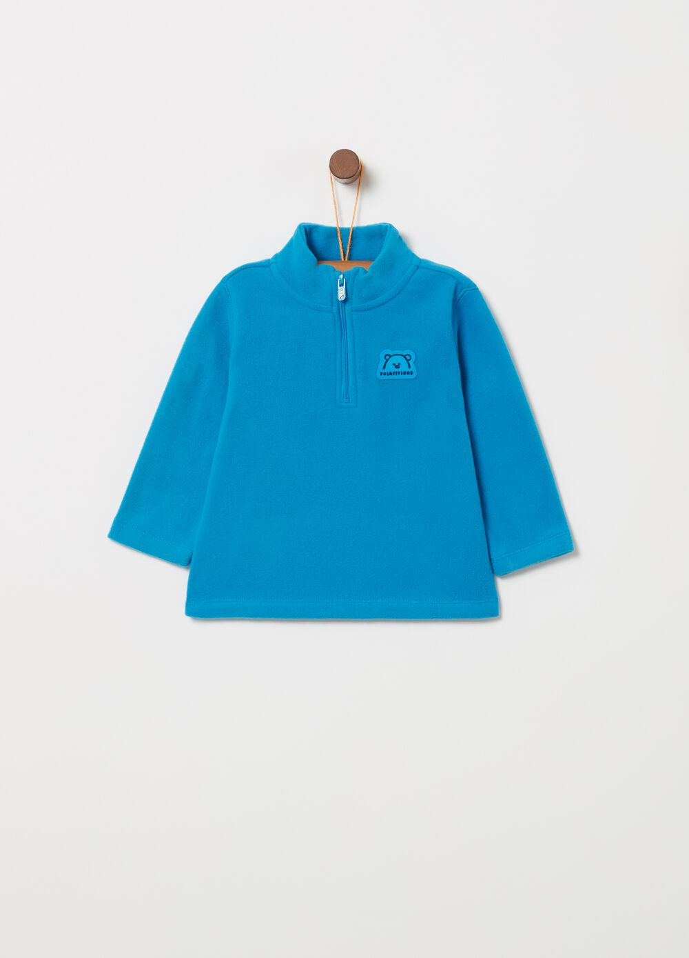 Sustainable fleece turtleneck jumper with label