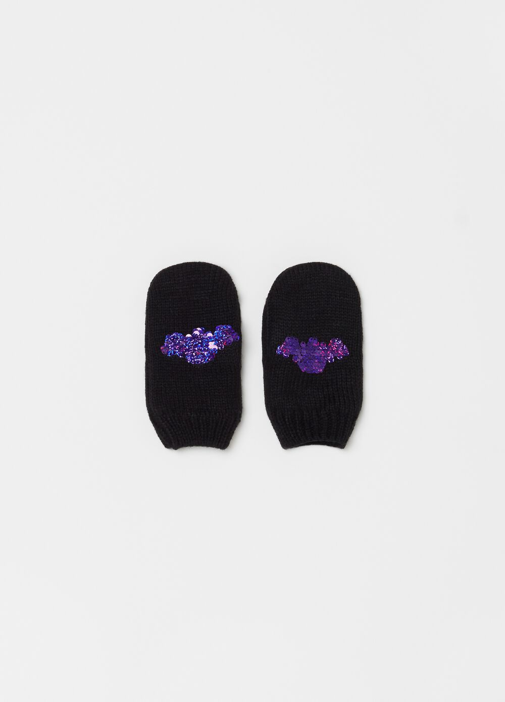 Knitted mittens with bat sequins