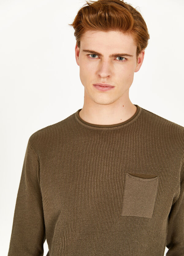 Striped weave cotton pullover with trim