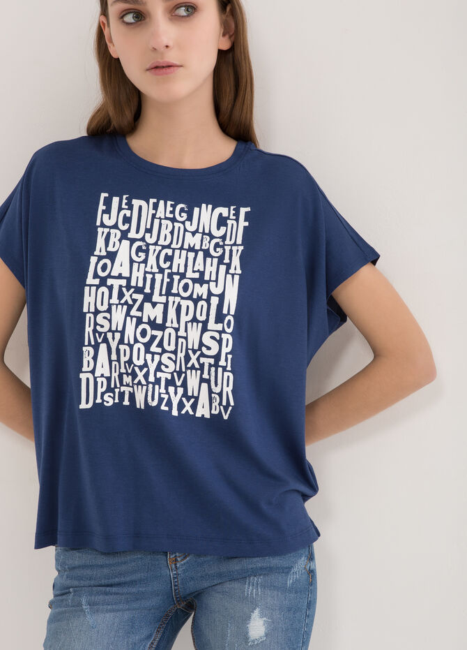 Loose-fit T-shirt with lettering print