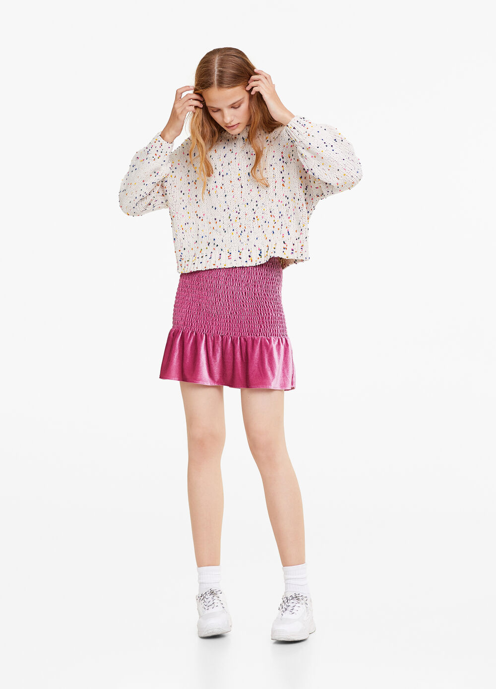 High-waisted stretch skirt with pleating