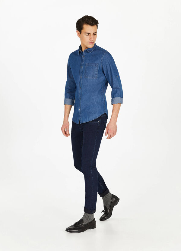 Casual denim shirt with pocket