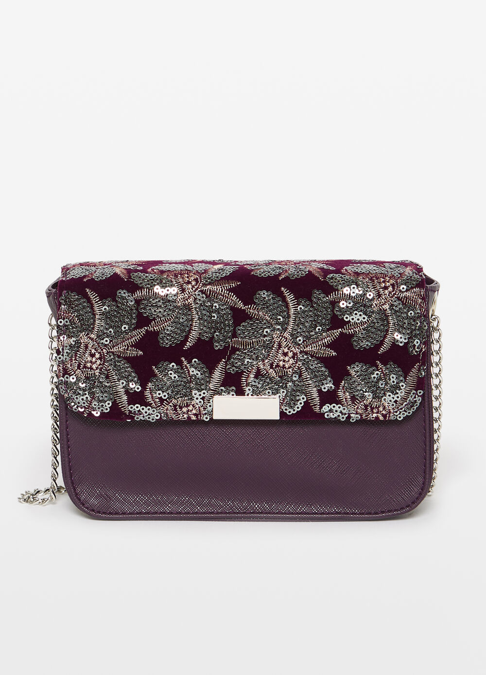 Shoulder bag with floral sequins and embroidery