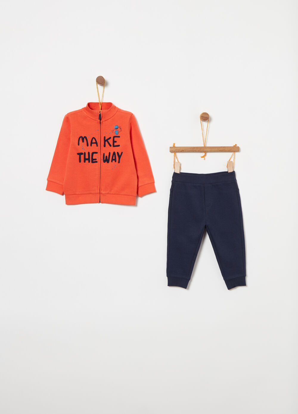 Jogging set in 100% cotton with lettering print