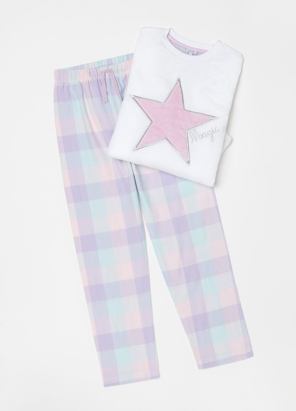 Pyjamas with check star embroidery