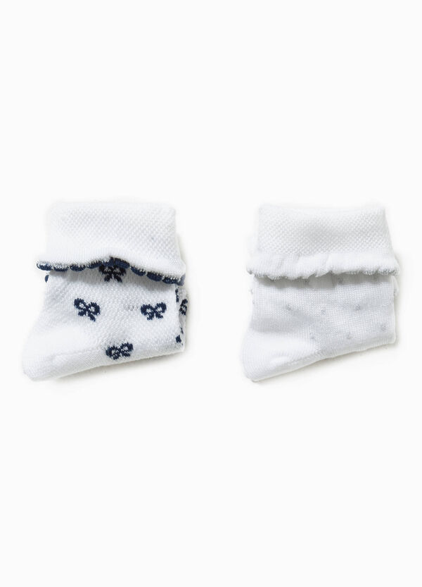 Two-pair pack butterfly and polka dot socks