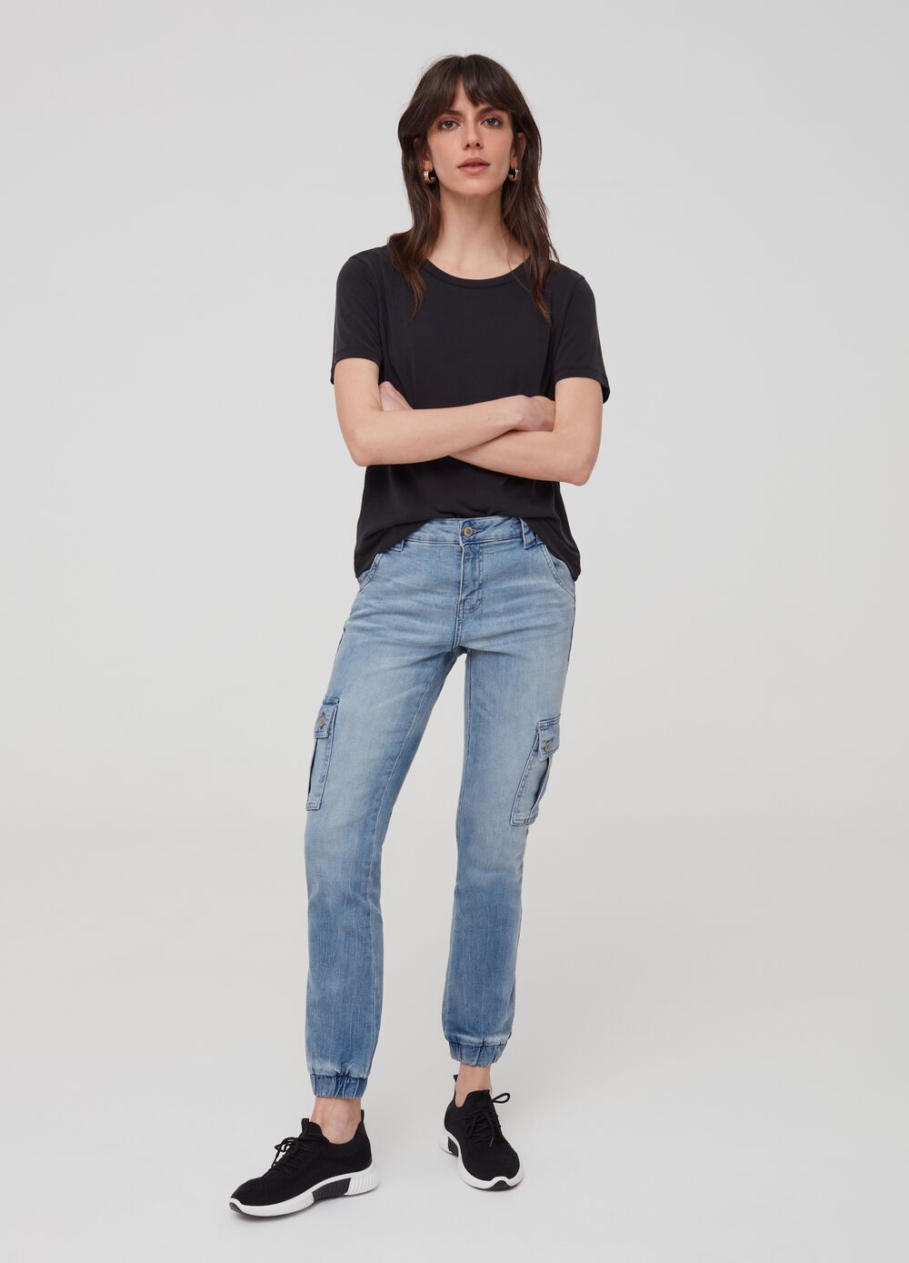 Stretch denim jogging trousers with pockets