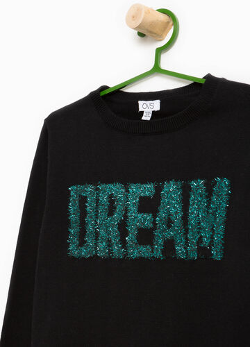Pullover in cotton with printed lettering