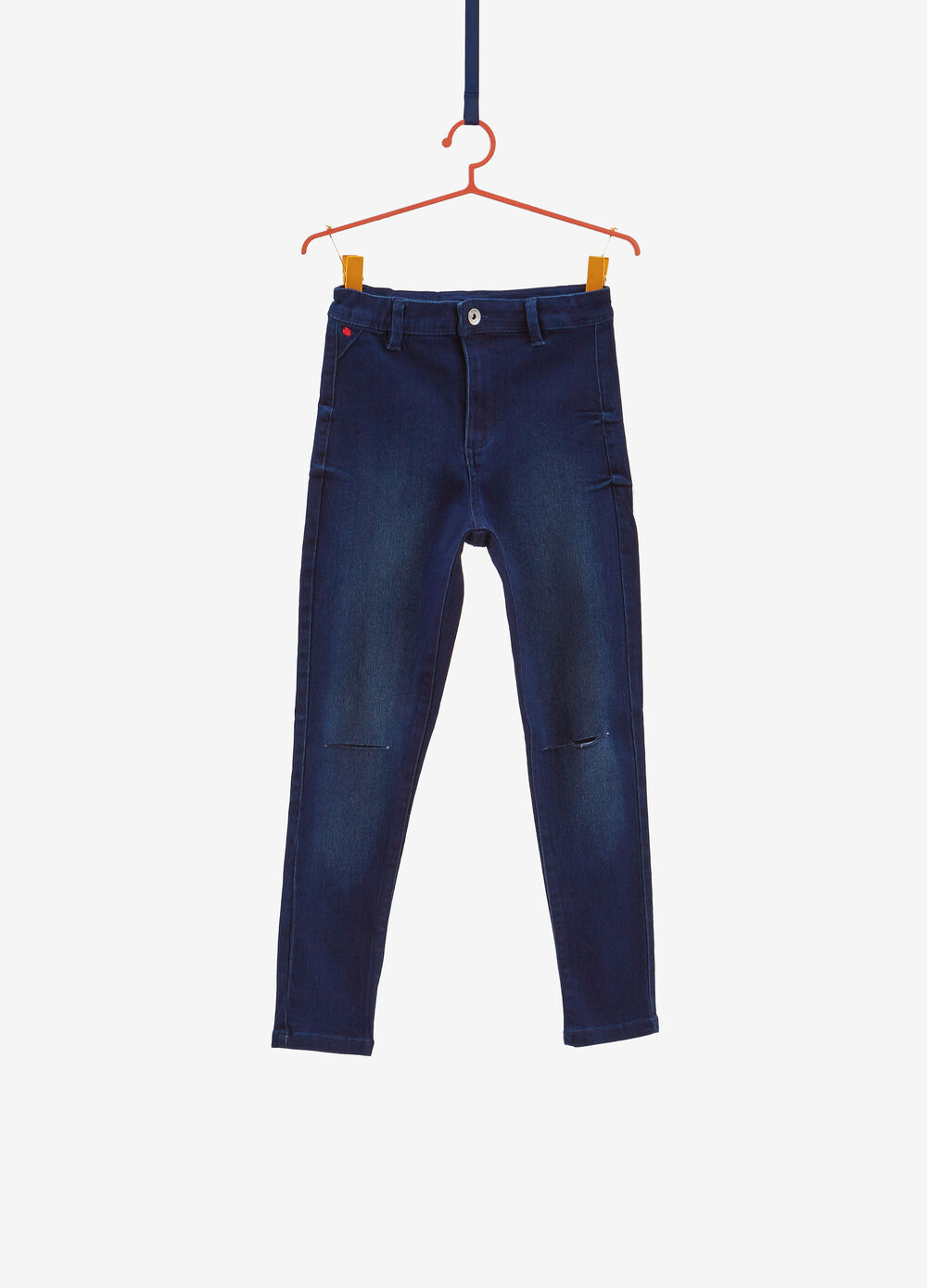 High-waisted stretch jeans with rips