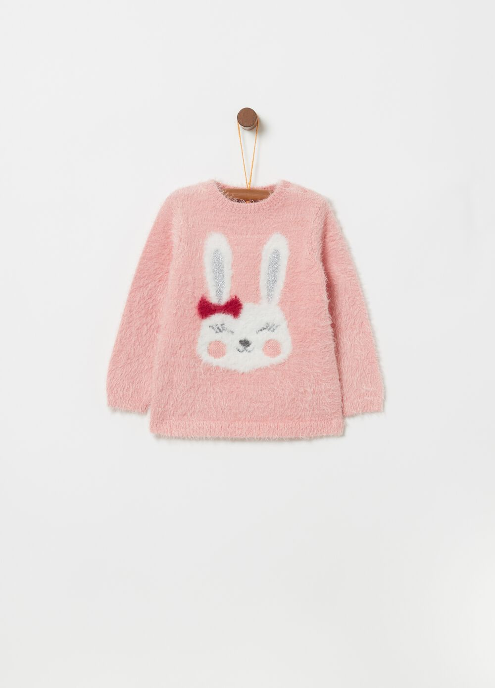Pullover with rabbit embroidery and lurex