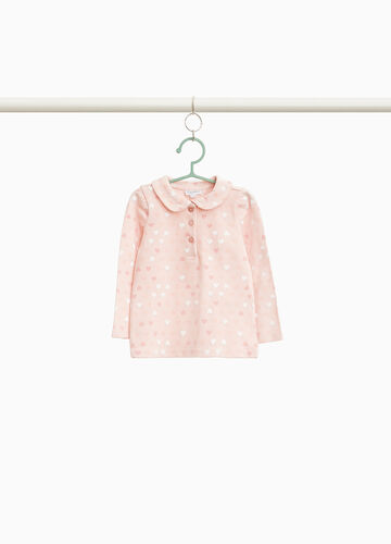 Polo shirt in stretch cotton with hearts print
