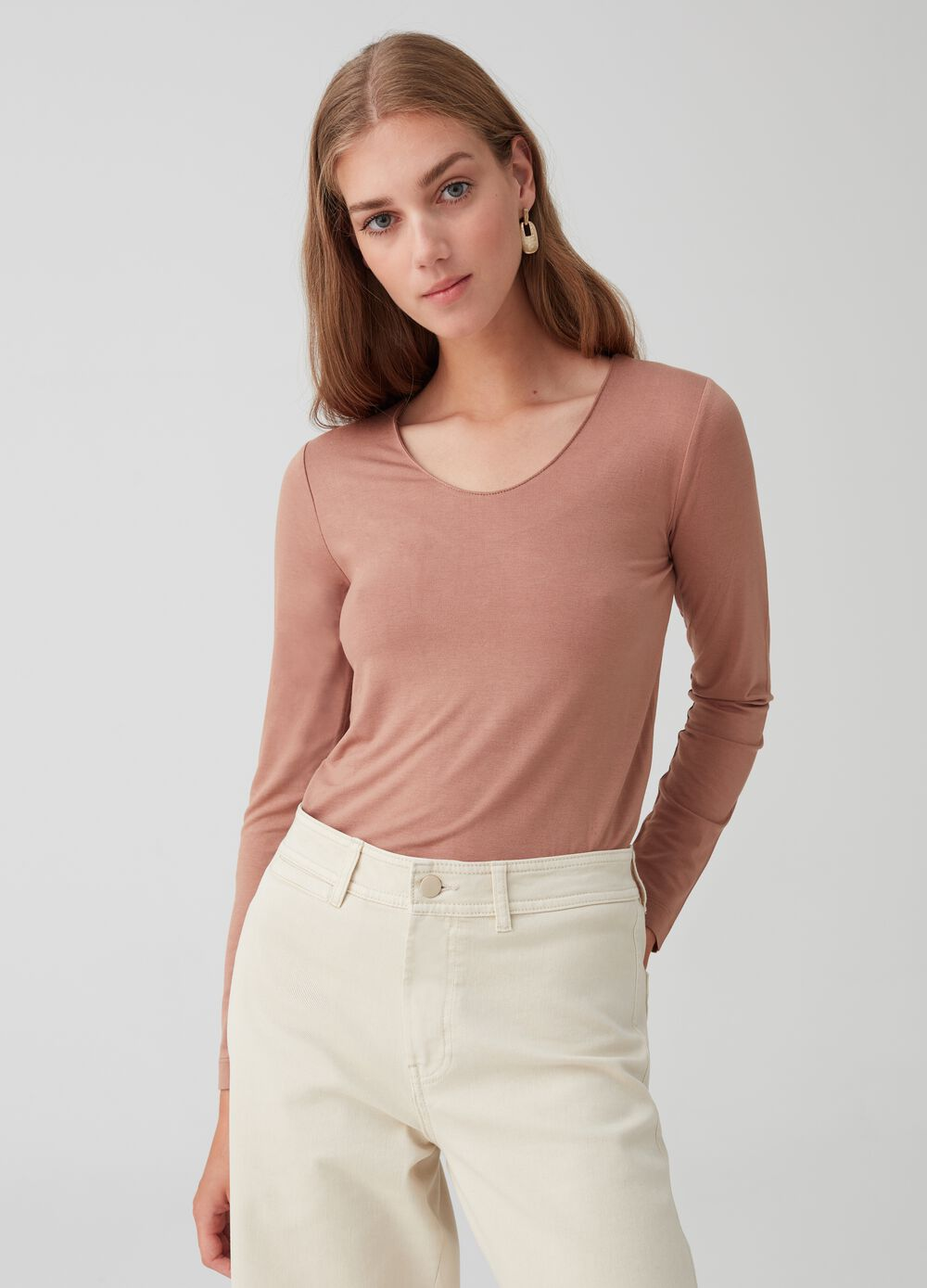 Stretch T-shirt with long sleeves