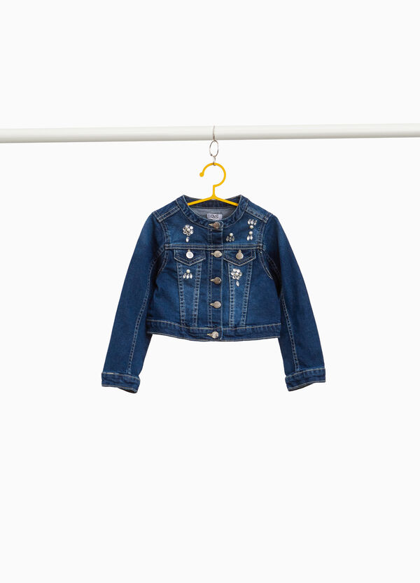 Stretch denim jacket with diamantés and beads