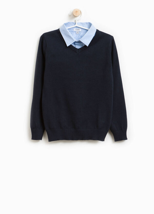 Cotton pullover with faux layer collar