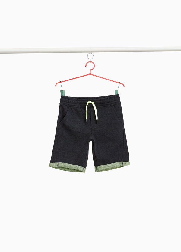 Cotton blend Bermuda shorts with turn-ups