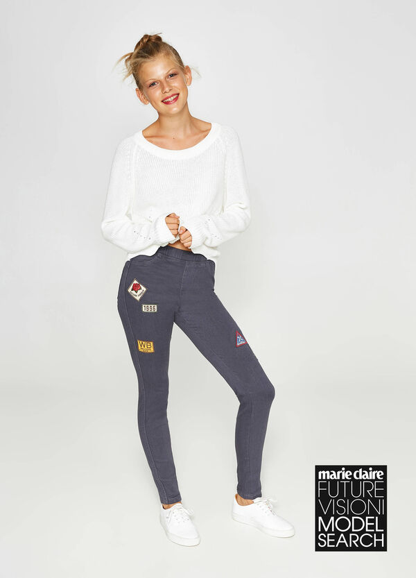 Jeggings stretch con patch
