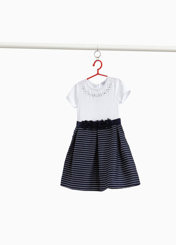 Stretch cotton dress with striped skirt