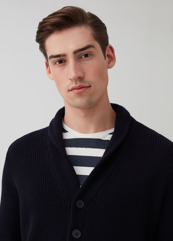 Knit cardigan with shawl neck