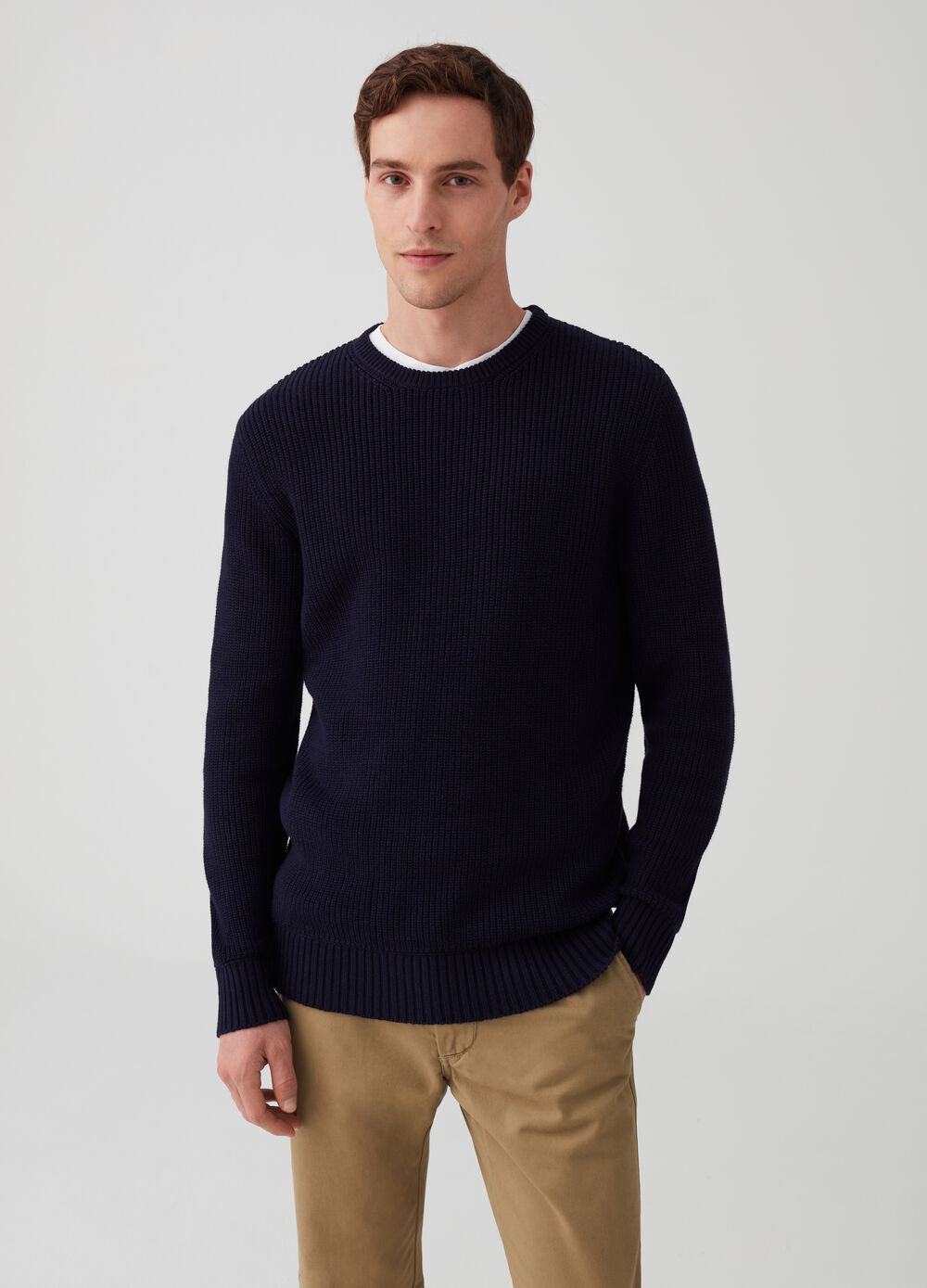 Pullover with ribbed weave