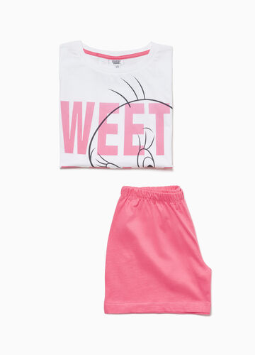 Cotton pyjamas with T-shirt and shorts with maxi Tweetie Pie print