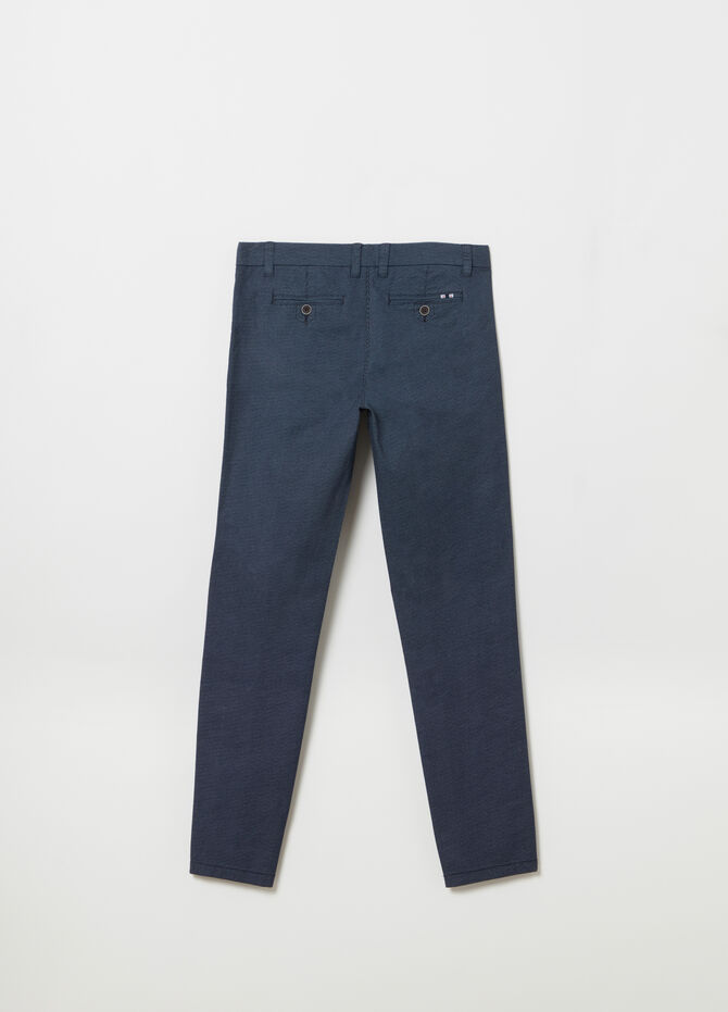 Chino slim fit in twill stretch microfantasia
