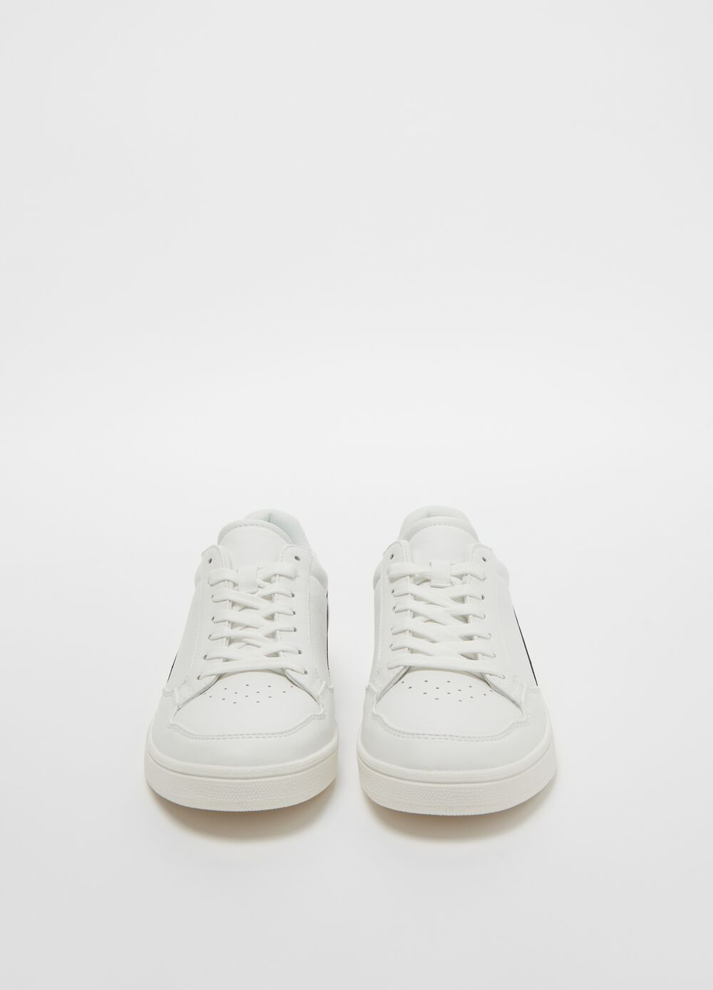 Faux leather sneakers with striped edging