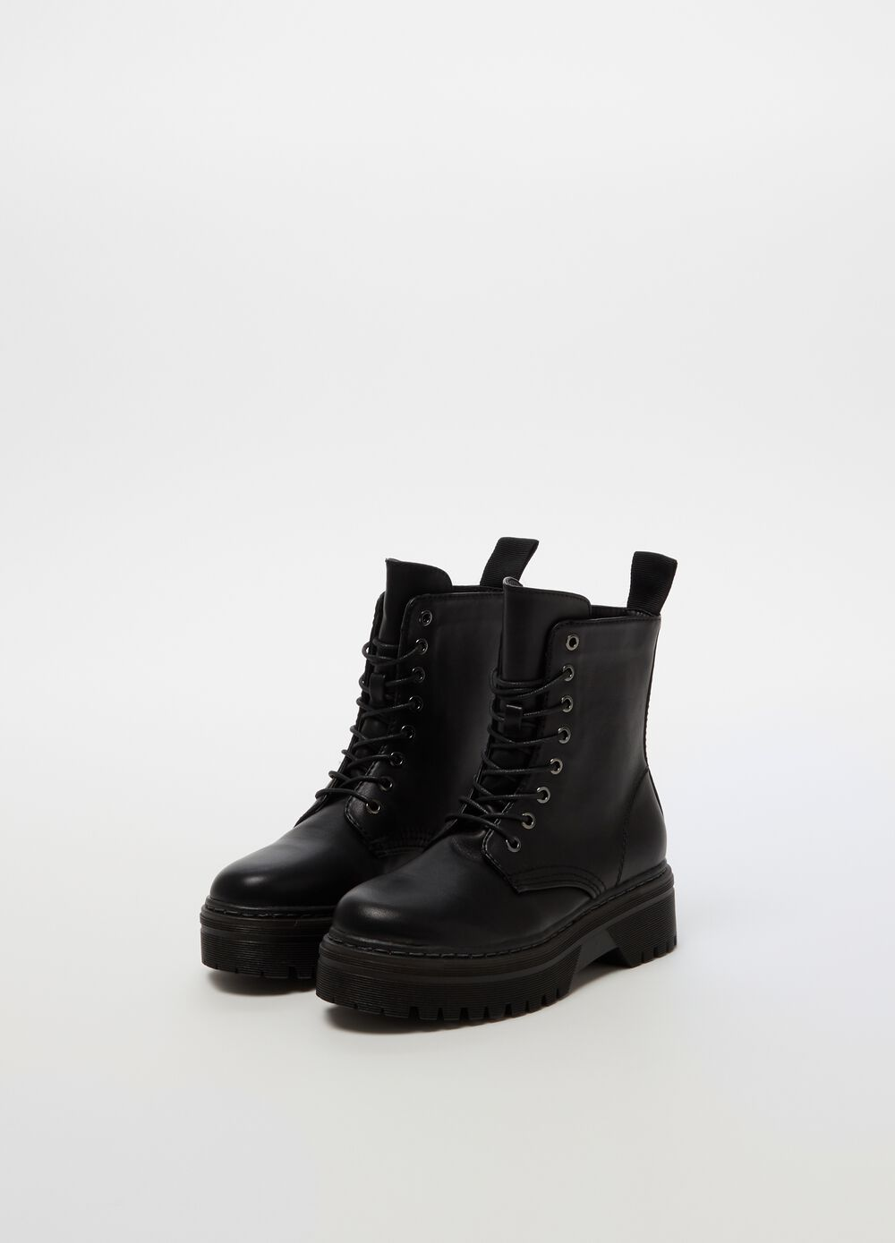 Leather-look field boots with thick sole