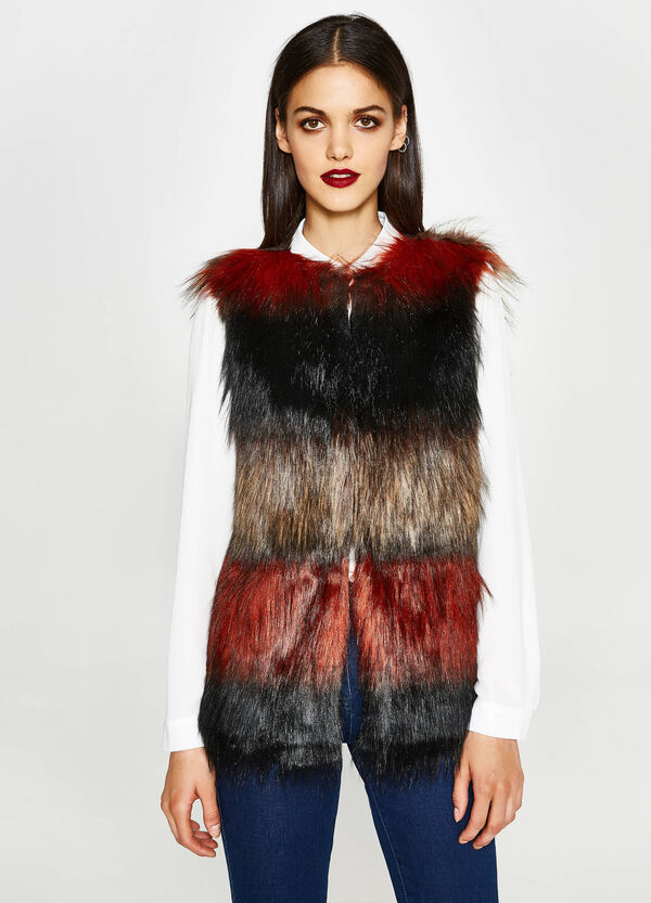 Gilet in similpelliccia a righe | OVS
