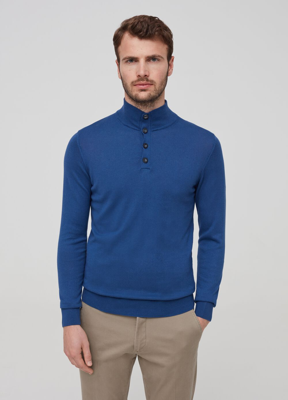 Cotton and silk pullover with high neck