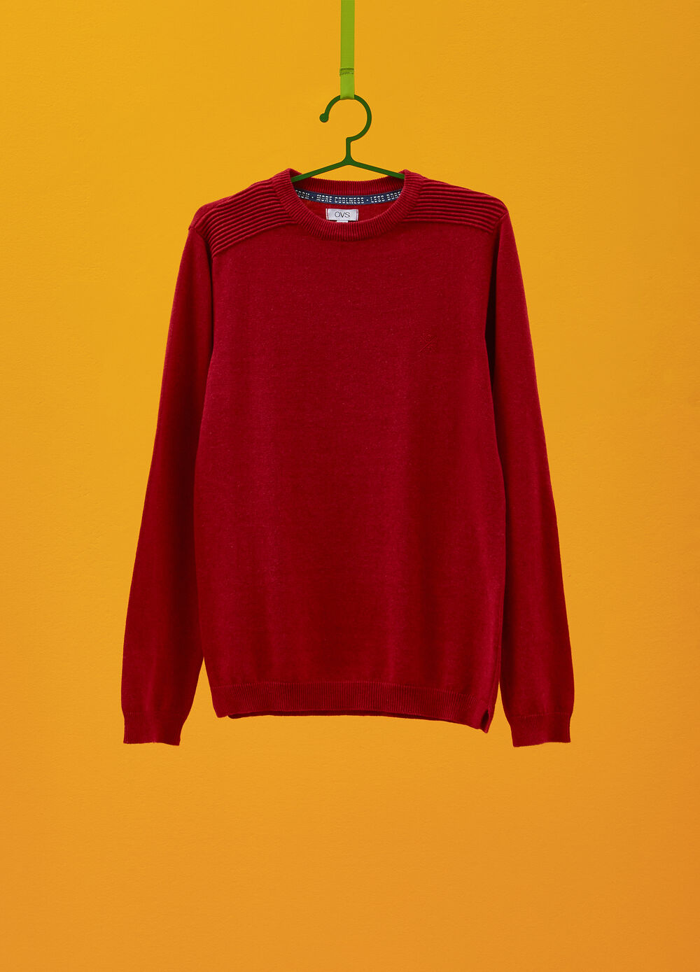 Mélange pullover with striped weave