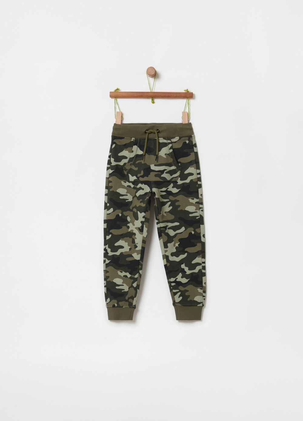 Camouflage patterned jogger trousers