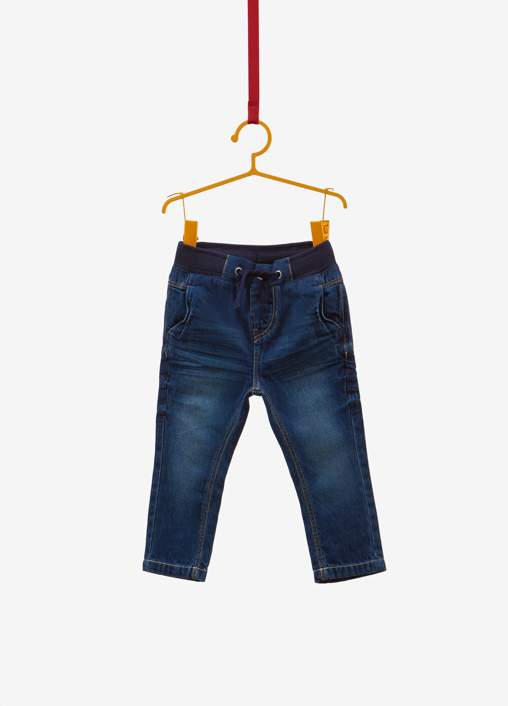 Regular-fit faded-effect jeans with drawstring