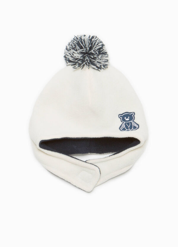 Beanie cap with patch and pompom | OVS