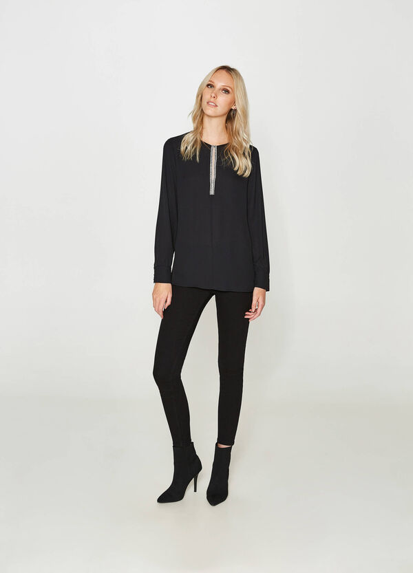 Blouse with long sleeves and beads | OVS